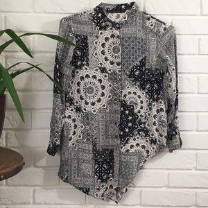 Zara Basic Blouse Size Small Black White